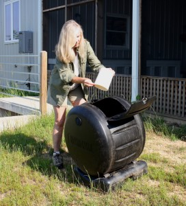 The compost tumbler has simplified kitchen composting for us. Not only does it keep Oddie and other critters out; it also speeds up the composting process.