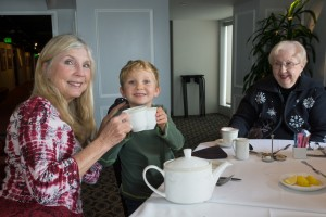 "We spent relatively little time ""going out"" while we were with Joe's family, but we did enjoy high tea aboard the Queen Mary. I think Grandmere was having as much fun as Smith or Grandma."